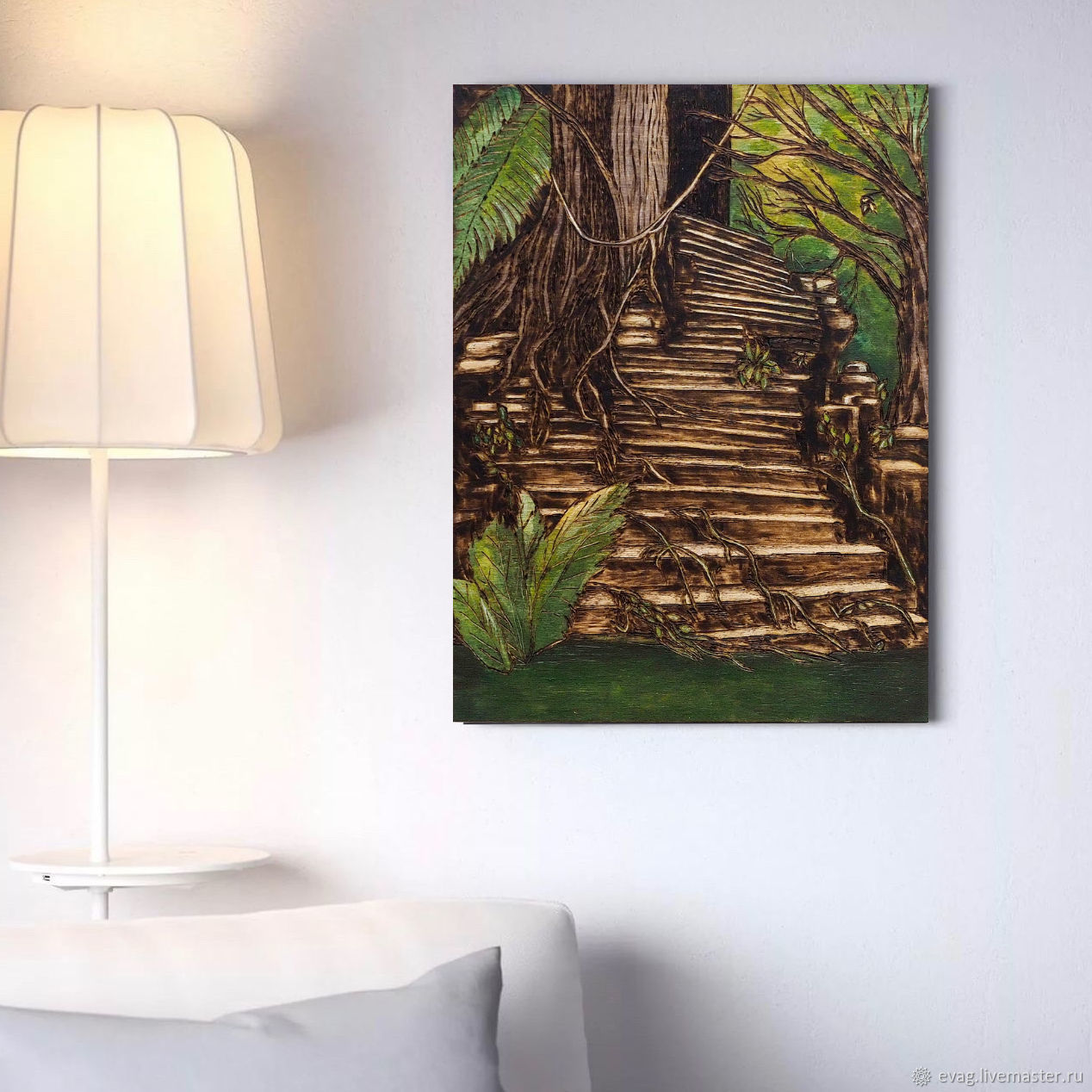 """The painting on wood 40h30sm """"Stairs"""", Pictures, Moscow,  Фото №1"""