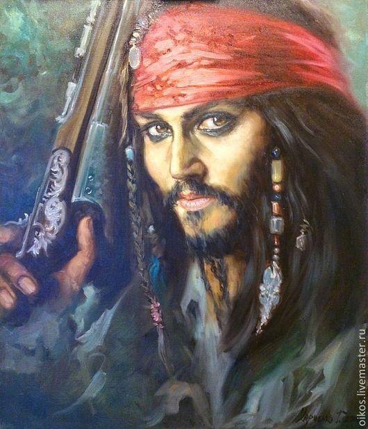 Люди, ручной работы. Ярмарка Мастеров - ручная работа. Купить Портрет по фото маслом - Джонни Депп пират. Handmade. Пират