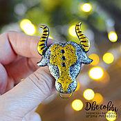 Украшения handmade. Livemaster - original item Brooch-pin: The bull is the symbol of 2021. Handmade.