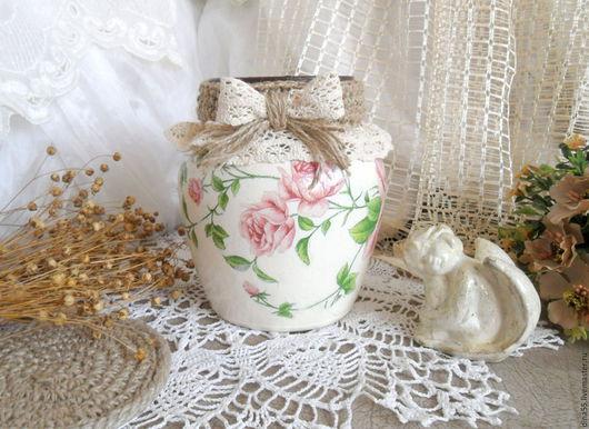 Вазы ручной работы. Ярмарка Мастеров - ручная работа. Купить Ваза для цветов Розовые розы. Handmade. Бежевый, интерьерная ваза