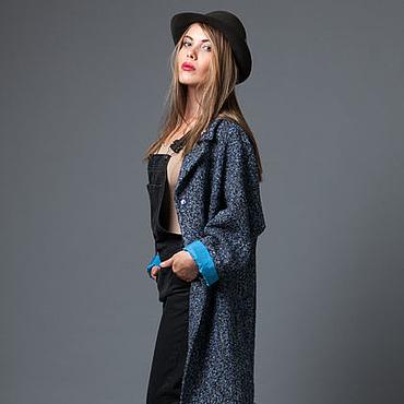 """Одежда ручной работы. Ярмарка Мастеров - ручная работа Пальто """"Шанелька синяя"""".Пальто большого размера.. Handmade."""