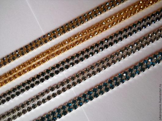 Для украшений ручной работы. Ярмарка Мастеров - ручная работа. Купить Густая стразовая лента SS10 хрусталь в золоте и серебре. Handmade.