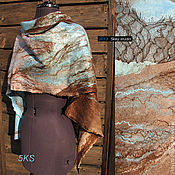 Аксессуары ручной работы. Ярмарка Мастеров - ручная работа шарф валяный мятно-какао-шоколадный. Handmade.