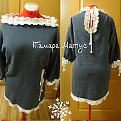 Одежда handmade. Livemaster - original item Tunic with white lace, handmade, knitted.. Handmade.