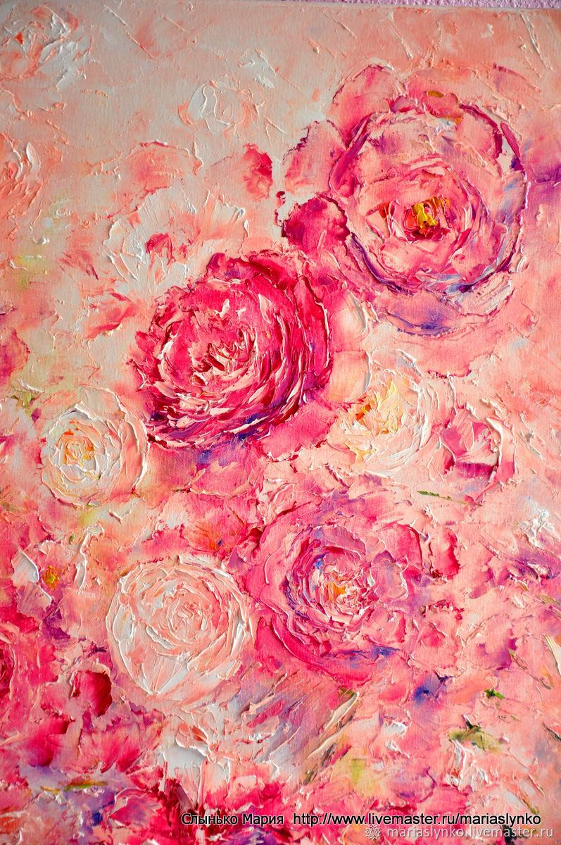 Oil painting . Peonies. Floral fantasy