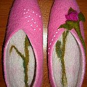 """Обувь ручной работы. Ярмарка Мастеров - ручная работа Тапочки валяные """"Розы"""" из деревенской овечьей шерсти. Handmade."""