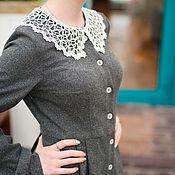 Платья ручной работы. Ярмарка Мастеров - ручная работа Серое шерстяное зимнее теплое платье с пышной юбкой в складку. Handmade.