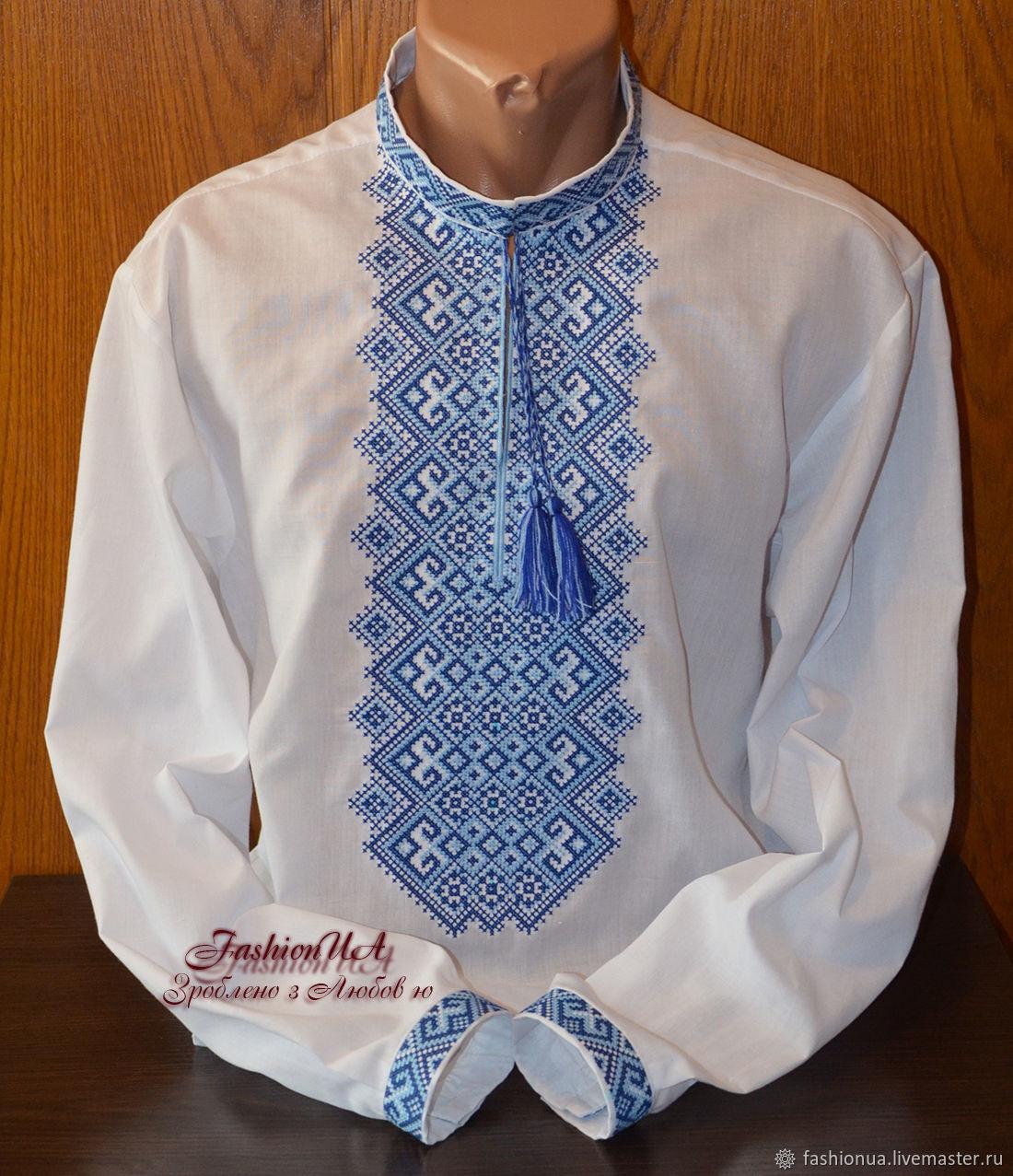 Вышиванка мужская сине-голубая, Рубашки, Черкассы,  Фото №1
