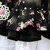 """Одежда ручной работы. Ярмарка Мастеров - ручная работа Хлопковая юбка -бохо """"Вечерние цветы"""". Handmade."""