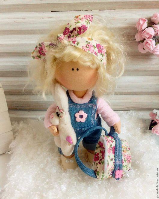 Куклы тыквоголовки ручной работы. Ярмарка Мастеров - ручная работа. Купить Текстильная кукла. Маришка. Handmade. Бледно-розовый