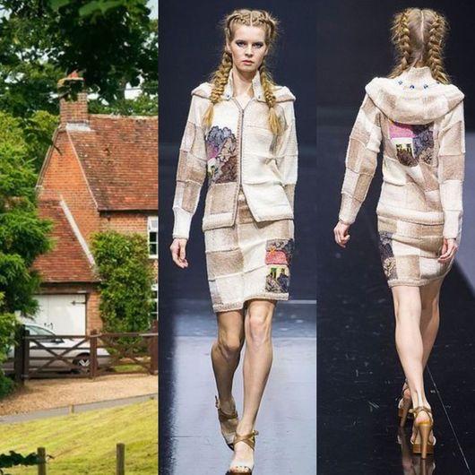 """Верхняя одежда ручной работы. Ярмарка Мастеров - ручная работа. Купить Костюм """" Домики"""" куртка+юбка. Handmade. Рисунок"""