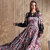 Одежда ручной работы. Ярмарка Мастеров - ручная работа Платье из 100% натуральной ткани, в макси длине, с кружевной отделкой.. Handmade.