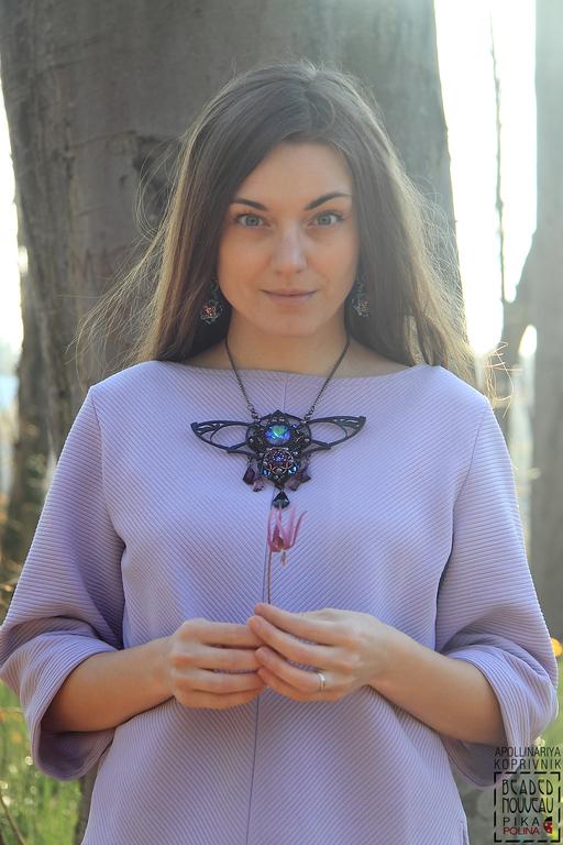 Колье, бусы ручной работы. Ярмарка Мастеров - ручная работа. Купить Колье Lila Moth / Beaded Nouveau. Handmade.