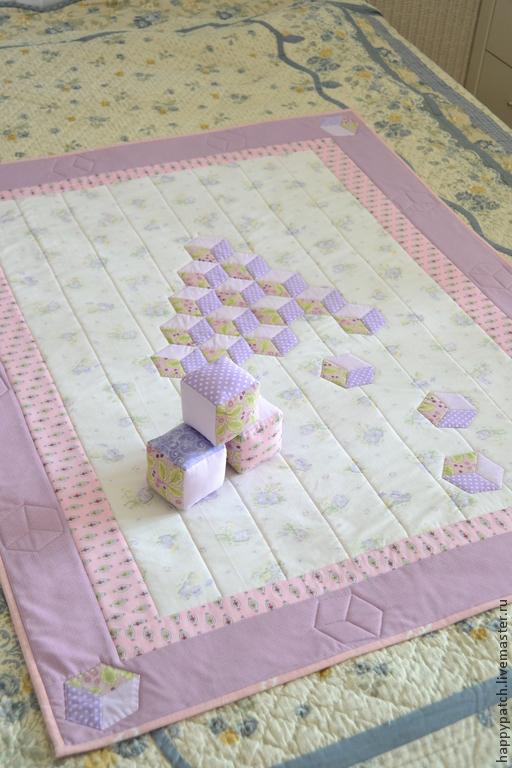 """Детская ручной работы. Ярмарка Мастеров - ручная работа. Купить Плед """" Пирамидка с кубиками"""". Handmade. Плед, одеялко для девочки"""