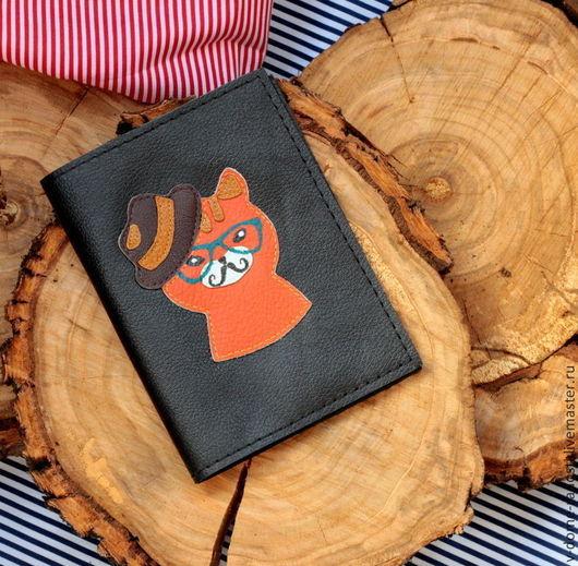 Обложка на паспорт, обложка для документов `Хипстеры`, натуральная кожа. подарок на 23 февраля, подарок на 8 марта  Мастер Сечкина Юлия  http://www.livemaster.ru/v-dome-radosti