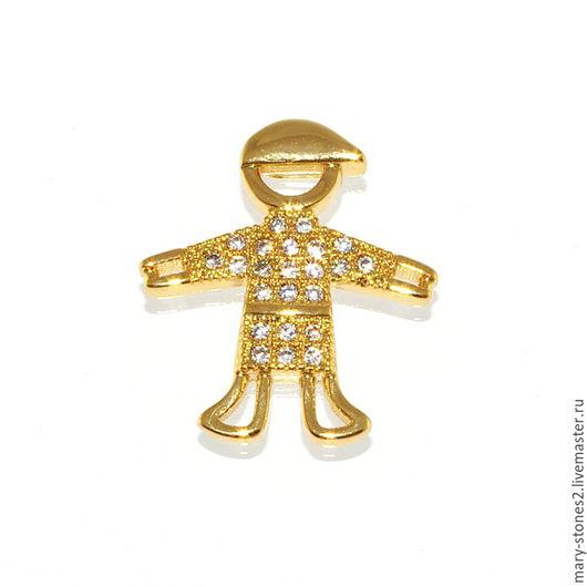Для украшений ручной работы. Ярмарка Мастеров - ручная работа. Купить Коннектор мальчик с фианитами, желтое золото. Handmade.