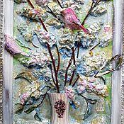 Картины и панно ручной работы. Ярмарка Мастеров - ручная работа Птички на ветках сирени. Handmade.