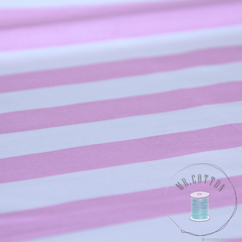 Ткань сатин. Розовая полоска, Шитье, Москва, Фото №1
