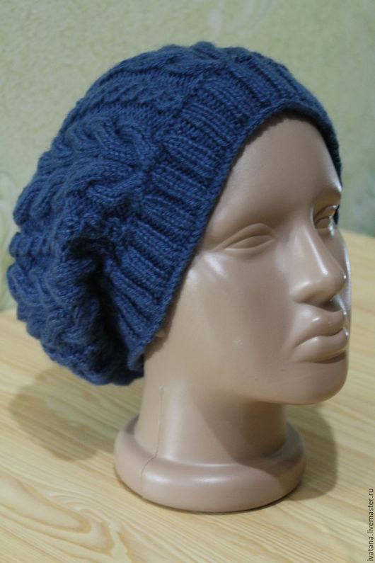 Шапки ручной работы. Ярмарка Мастеров - ручная работа. Купить Вязаная шапка + манишка (комплект). Handmade. Тёмно-синий