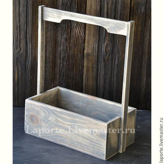 Подарочная упаковка ручной работы. Ярмарка Мастеров - ручная работа. Купить Ящик для цветов деревянный #6, серого цвета. Handmade.