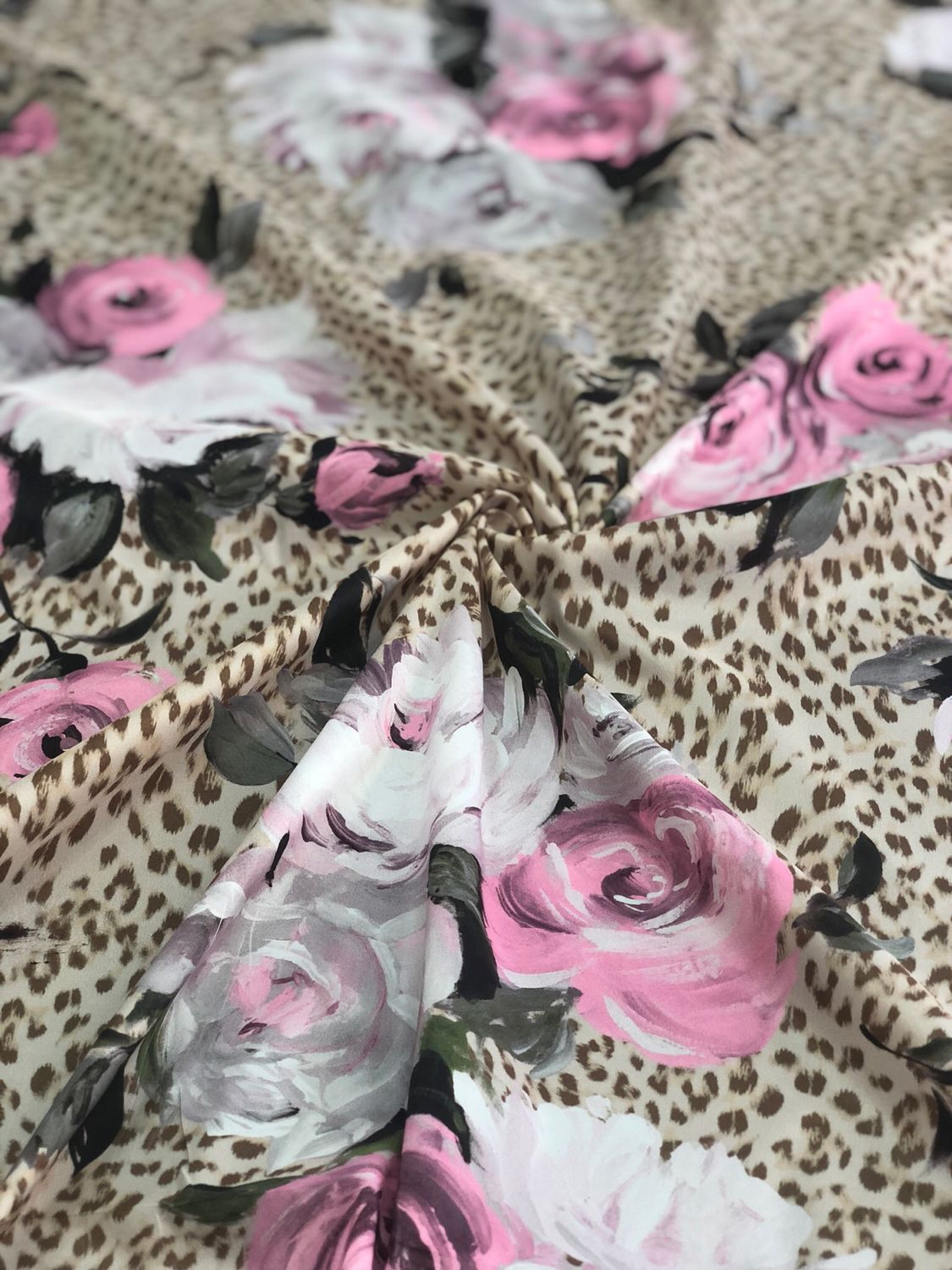 Raincoat fabric ' Leopard with roses', Fabric, Taganrog,  Фото №1