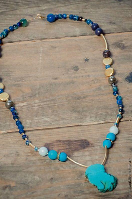Колье, бусы ручной работы. Ярмарка Мастеров - ручная работа. Купить Ожерелье с яшмой, агатами, гематитом и бирюзой. Handmade. агат