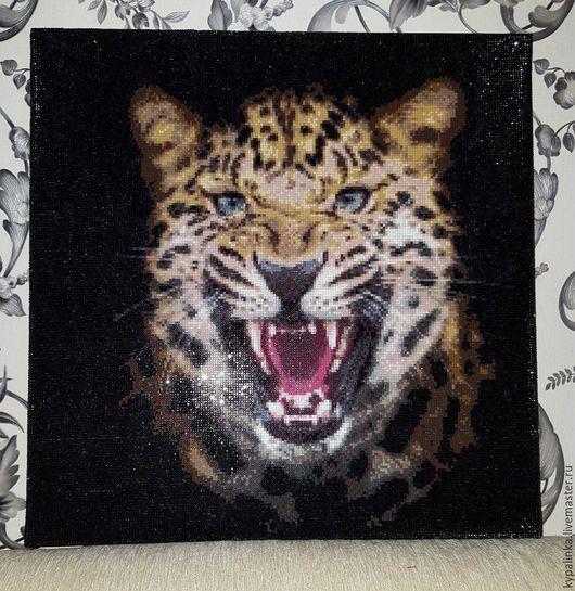 Животные ручной работы. Ярмарка Мастеров - ручная работа. Купить алмазная мозайка ЛЕОПАРД. Handmade. Комбинированный, алмазная мозаика