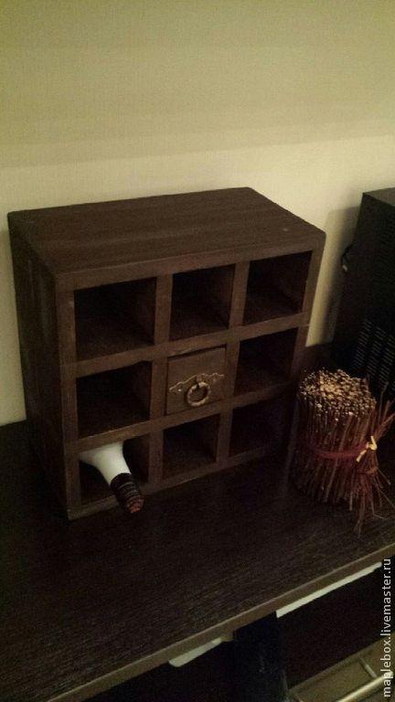 Мебель ручной работы. Ярмарка Мастеров - ручная работа. Купить Винный стеллаж с ящиком. Handmade. Коричневый, коньячный, винный шкаф