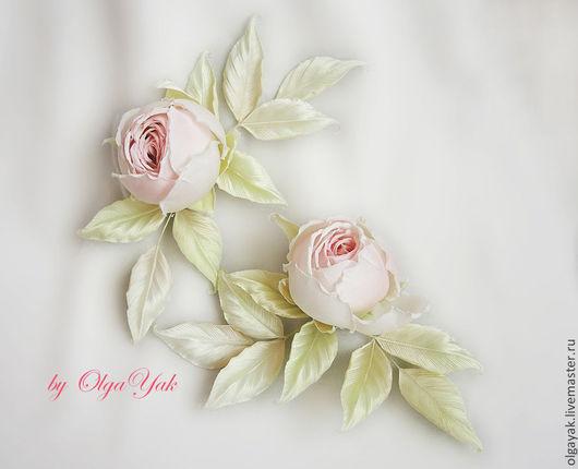 Свадебные украшения ручной работы. Ярмарка Мастеров - ручная работа. Купить Цветы из ткани. Две розы. Для невесты.. Handmade.