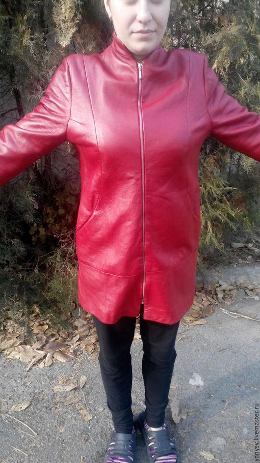 Верхняя одежда ручной работы. Ярмарка Мастеров - ручная работа. Купить Кожаная куртка - полупальто. Handmade. Ярко-красный