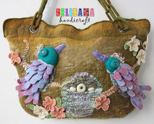 Handbags handmade. Livemaster - handmade. Buy Bag 'Paradise birds'.Bag, bag decor, socket, trinity wool, bugle