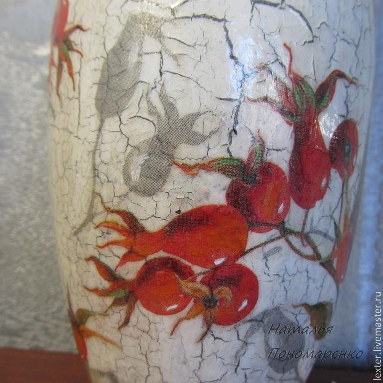 Вазы ручной работы. Стеклянная ваза  Шиповник