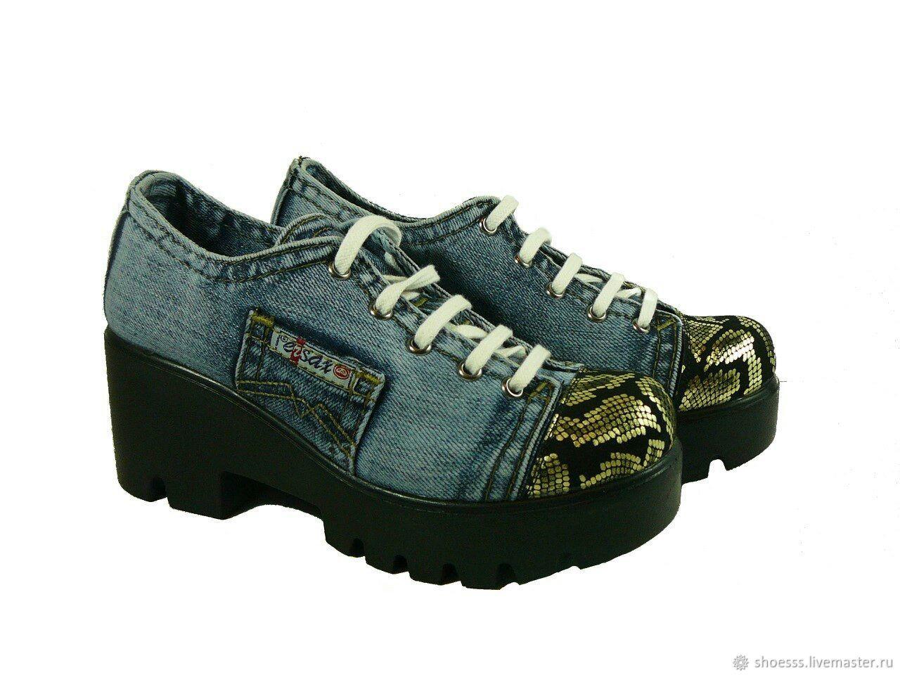 9ff0f875c ручной работы. Ярмарка Мастеров - ручная работа. Купить Женские новые джинсовые  туфли 38, ...