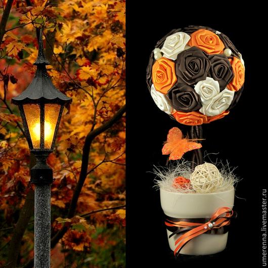 """Топиарии ручной работы. Ярмарка Мастеров - ручная работа. Купить Топиарий """"Золотая Осень"""". Handmade. Оранжевый, бабочка, цветы из лент"""