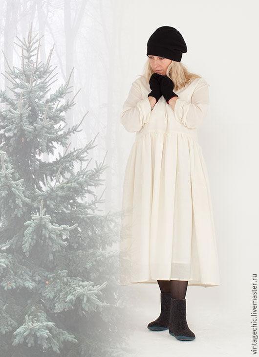Платья ручной работы. Ярмарка Мастеров - ручная работа. Купить Платье из белой шерсти art.136d. Handmade. Белый