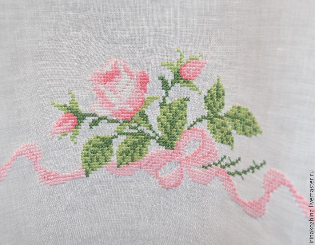 Вышивка розы для ковров