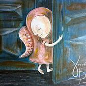 """Картины и панно ручной работы. Ярмарка Мастеров - ручная работа Картина красками """"Ангел стучится в каждую дверь"""". Handmade."""