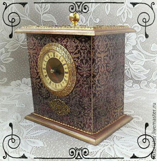 Шкатулки ручной работы. Ярмарка Мастеров - ручная работа. Купить Шкатулка часы. Handmade. Бордовый, интересный подарок