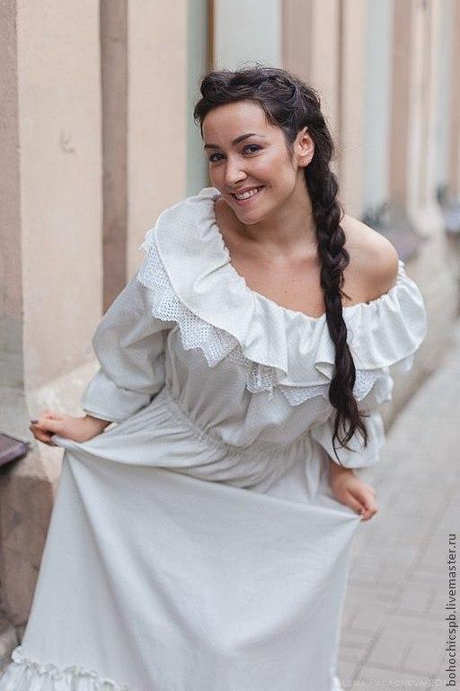 """Платья ручной работы. Ярмарка Мастеров - ручная работа. Купить Бохо-платье """"Плутовка"""".. Handmade. Белый, рюши, винтаж"""