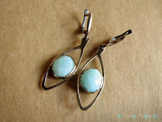Серьги ручной работы. Ярмарка Мастеров - ручная работа. Купить Серьги Небо 2 из серебра с опалом. Handmade. Голубой