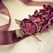 Свадебный салон ручной работы. Ярмарка Мастеров - ручная работа Пояс с розами Марсала. Handmade.