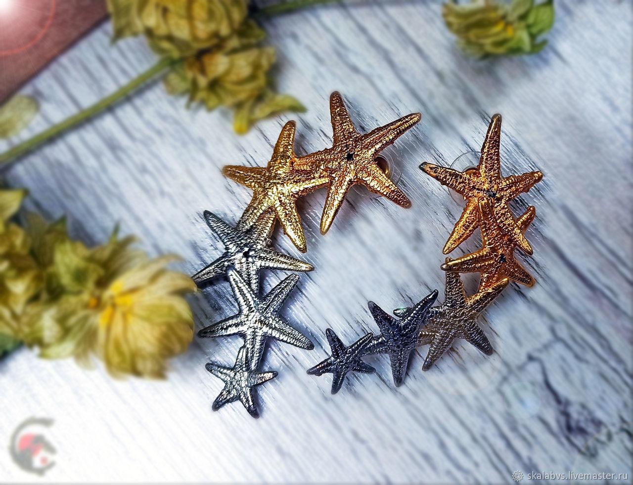 'OceanS' starfish earrings in 24K gold!, Stud earrings, Chelyabinsk,  Фото №1