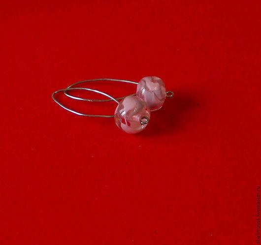 Серьги ручной работы. Ярмарка Мастеров - ручная работа. Купить Серьги с розовыми бусинами lampwork, ручная работа. Handmade. Розовый
