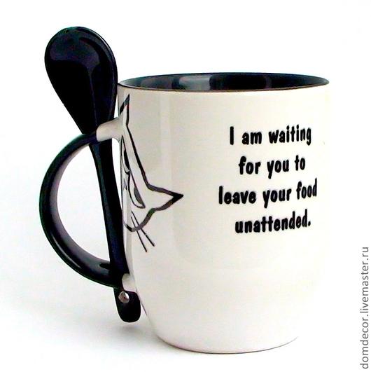 """Кружки и чашки ручной работы. Ярмарка Мастеров - ручная работа. Купить Чашка с ложкой """"Мое время придет."""". Handmade."""