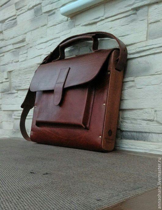 """Мужские сумки ручной работы. Ярмарка Мастеров - ручная работа. Купить Портфель из дерева и кожи W&L Exclv """"Business""""-L. Handmade."""