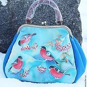 Саквояж ручной работы. Ярмарка Мастеров - ручная работа Фетровая сумка Снегири. Handmade.