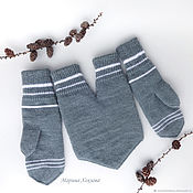 Аксессуары handmade. Livemaster - original item Mittens for lovers Gray and white Set of three 1 1 total. Handmade.