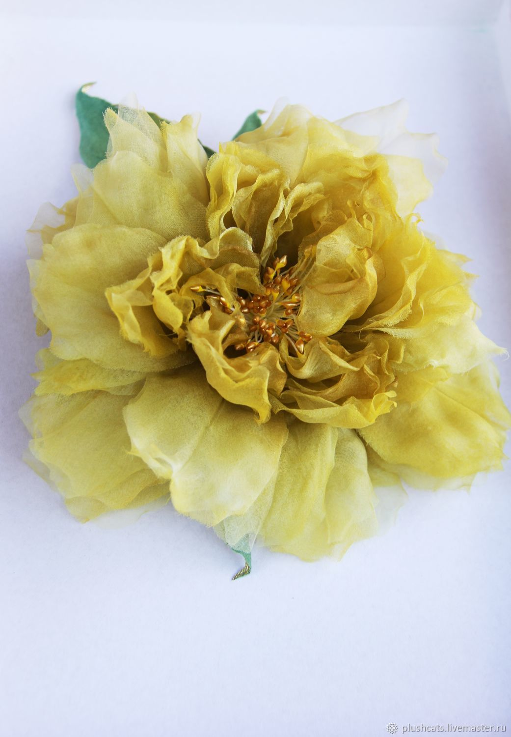 Rose 'Mustard' from chiffon, Brooches, Moscow,  Фото №1