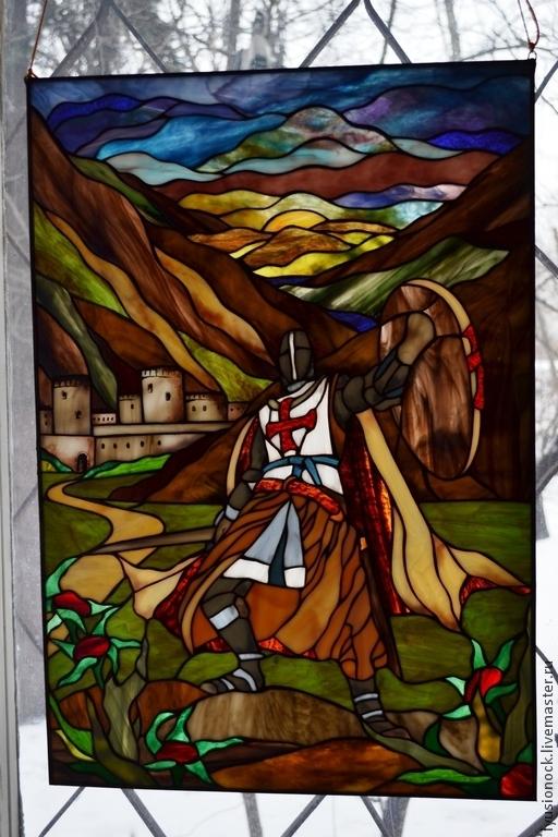 """Пейзаж ручной работы. Ярмарка Мастеров - ручная работа. Купить Витраж """"Рыцарь"""". Handmade. Витраж, картина для интерьера"""