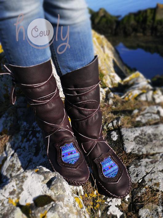 """Обувь ручной работы. Ярмарка Мастеров - ручная работа. Купить Коричневые кожаные мокасины """"Hmong Ocean Blue"""". Handmade. Коричневый"""